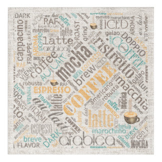 Coffee on Burlap Word Cloud Teal ID283 Acrylic Wall Art