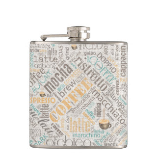 Coffee on Burlap Word Cloud Teal ID283 Hip Flask