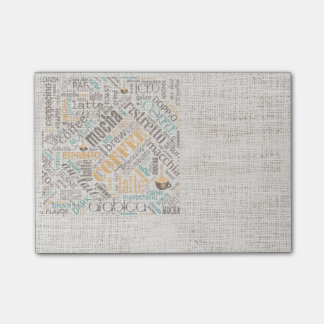 Coffee on Burlap Word Cloud Teal ID283 Post-it® Notes