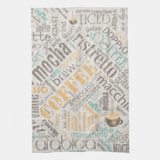 Coffee on Burlap Word Cloud Teal ID283 Tea Towel