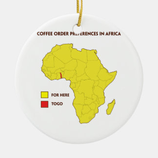 Coffee order preference in Africa Ceramic Ornament