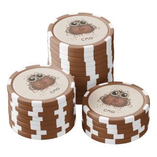 Coffee Owl custom monogram poker chips