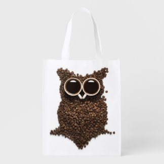 Coffee Owl Reusable Grocery Bag