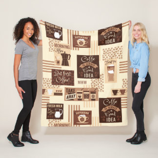 Coffee Pattern custom monogram fleece blankets
