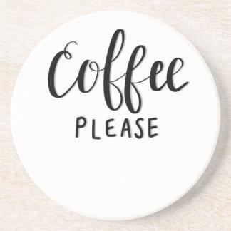 COFFEE PLEASE Calligraphy Coaster