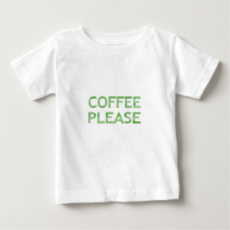 COFFEE PLEASE - strips - green and white. Baby T-Shirt