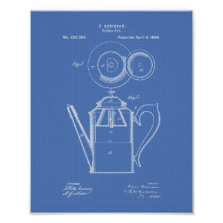 Coffee Pot 1880 Patent Art Blueprint Poster