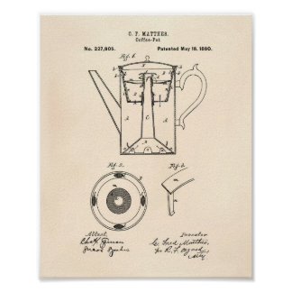 Coffee Pot 1880 Patent Art Old Peper Poster
