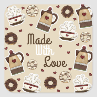 Coffee Pot and Cup Square Sticker