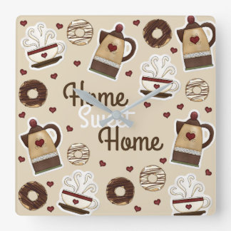 Coffee Pot and Cup Square Wall Clock