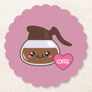 Coffee Pot Love (pink background) Paper Coaster