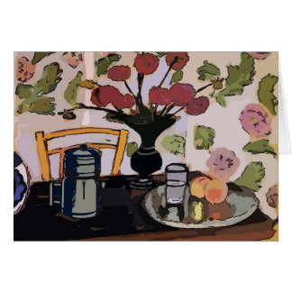Coffee Pot On Table, Matisse Style Card