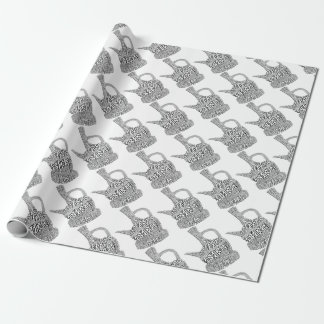 Coffee Pot Text Design Wrapping Paper