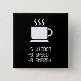 Coffee Power Up 15 Cm Square Badge