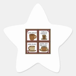 COFFEE QUIPS APPLIQUE STAR STICKER
