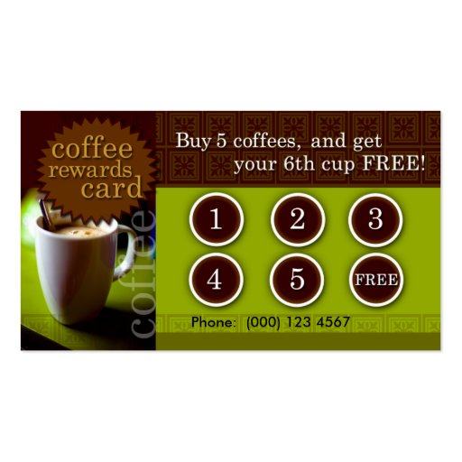 Coffee Rewards Card Pack Of Standard Business Cards Zazzle