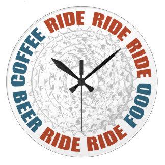 Coffee, Ride, Food, Ride, Beer Wall Clock