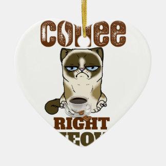 Coffee Right Meow Ceramic Ornament
