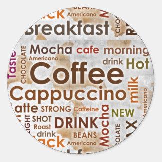 Coffee Round Sticker , 3 inch (sheet of 6)