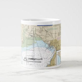 Coffee Sailboat Mug with Navigation Chart