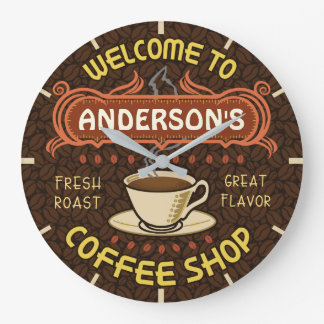 Coffee Shop Beans Coffeehouse | Add Your Name Large Clock