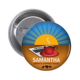 Coffee Shop Cafe Staff ID Name Tag Round Badge Pin