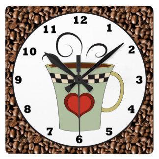 Coffee shop cartoon wall clock