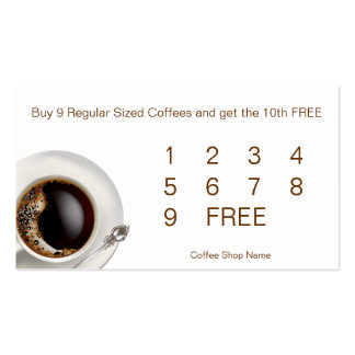 Coffee Shop Customer Loyalty Drink Cards Pack Of Standard Business Cards