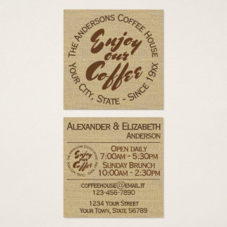 "Coffee Shop ""Enjoy Our Coffee"" Square Business Card"