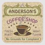 Coffee Shop with Cup Create Your Own Personalised Square Sticker