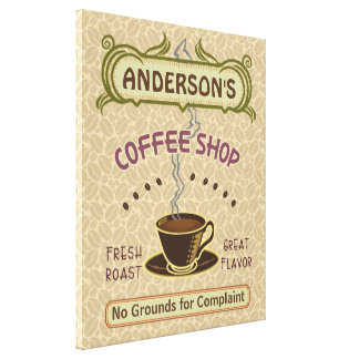 Coffee Shop with Cup Create Your Own Personalized Canvas Print