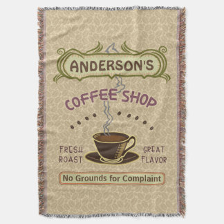 Coffee Shop with Cup Create Your Own Personalized Throw Blanket