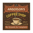 Coffee Shop with Mug Create Your Own Personalised Wood Wall Art