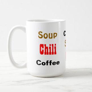 Coffee Soup Chili Funny Food Word Pattern Basic White Mug