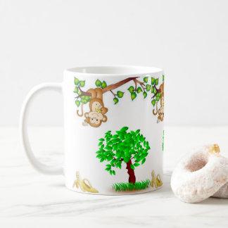 coffee tea monkey hanging around mug