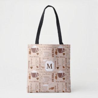Coffee Terms Monogram Tote Bag