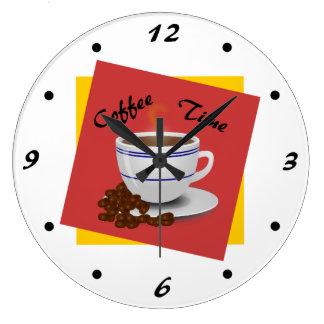 Coffee Time Cool Coffee Art Large Clock