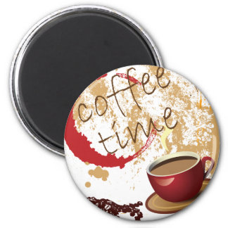 Coffee Time 6 Cm Round Magnet