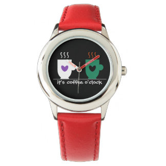 Coffee Time Red Bright Cool Funny Love Couple Mugs Watch
