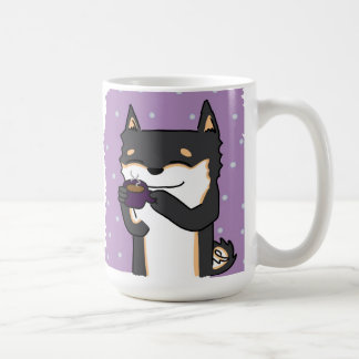 Coffee Time Shiba! - Black and Tan Coffee Mug
