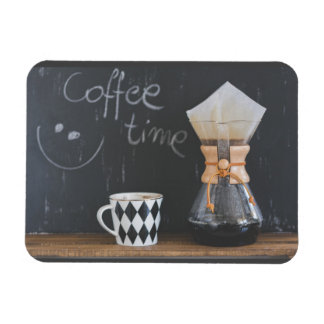 Coffee Time with Cup and Coffee Pot Rectangular Photo Magnet