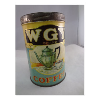 Coffee Tin, Vintage WGY Tin Postcard