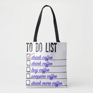 Coffee to-do list all-over tote / bag tote bag