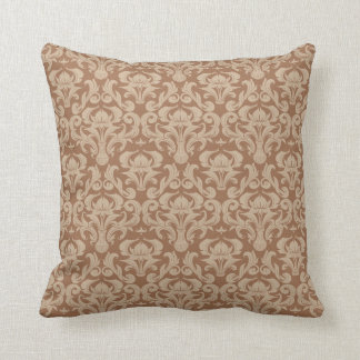 Coffee with Cream, Brown and Taupe Damask Throw Pillow