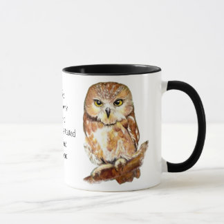 Coffee with Friend Quote and Cute Owl Mug