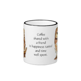 Coffee with Friend Quote and Cute Owl Ringer Coffee Mug