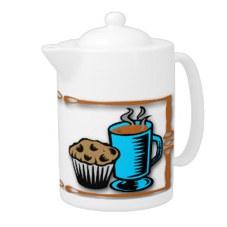 Coffee with Muffin Design Tea Pot