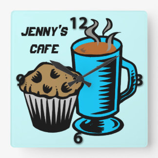 Coffee with Muffin Square Wall Clock
