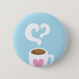Coffee with steam 6 cm round badge