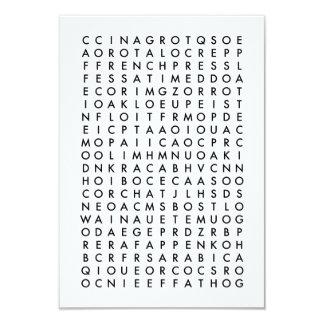 coffee word search puzzle 9 cm x 13 cm invitation card